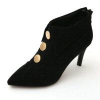 细跟时尚纽扣短靴尖头优雅韩版高跟骑士靴绒面后拉链短筒及踝靴