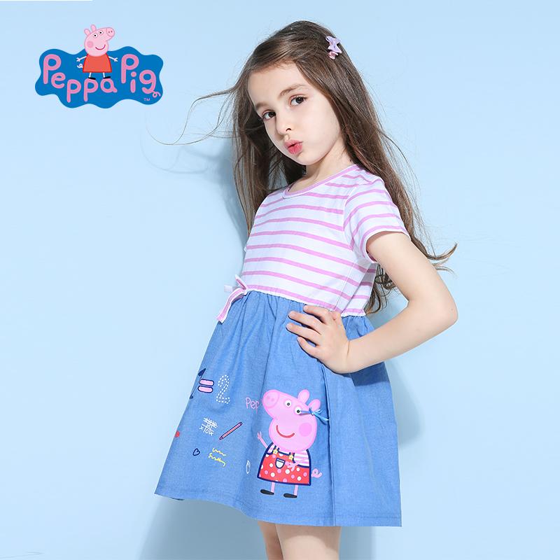 [2件6折]小猪佩奇正版童装女童夏装时尚条纹小猪棉质拼接连衣裙公主裙