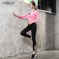 【到手价119】Kombucha瑜伽两件套2018新款女士速干透气性感露脐瑜伽健身短袖长裤两件套ZDK7103T2