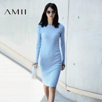 AMII[极简主义]秋冬新品修身大码中长款针织连衣裙女11672373