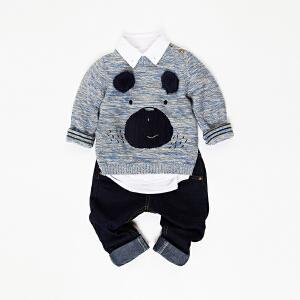 男童撞色贴毛卡通冬季毛衣针织衫