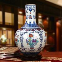 景德镇陶瓷器 高档手绘青花斗彩花卉大花瓶 中式古典家居摆件