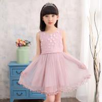 童装女孩裙子5-7岁儿童小朋友公主裙女童夏装蕾丝绣花背心纱裙