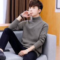 毛衣男士冬季2018新款韩版潮流宽松半高领线衣男秋冬装打底针织衫 5851灰色 M