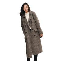 赫本风千鸟格羊毛呢子大衣女中长款秋冬季2018新款学院风宽松外套 图片色