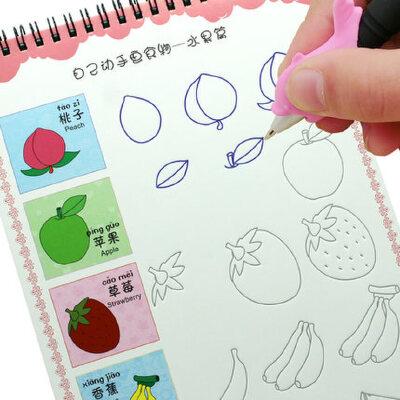 学前班儿童创意简笔画幼儿园绘画本宝宝描画画本书贴魔幻凹槽字帖