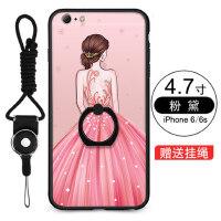 iPhone6手机壳 iPhone6plus保护套 苹果6s手机壳套 保护壳 自带指环支架壳 外壳 卡通黑胶一体指环浮