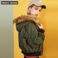 美特斯邦威棉衣短外套女韩版显瘦2017冬装新款连帽加绒保暖棉服S