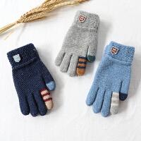 儿童五指毛线针织手套男童冬天大童保暖男孩学生保暖