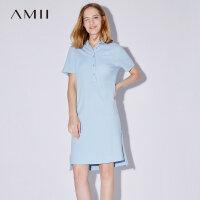 【AMII 超级品牌日】Amii[极简主义]2017夏装新款短袖直筒纯棉宽松大码POLO连衣裙胖mm