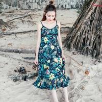 海边度假波西米亚沙滩裙蕾丝吊带露背长裙连衣裙夏 黑底碎花