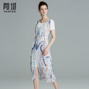 颜域品牌女装2017夏装新款休闲假两件雪纺透气开叉印花连衣裙女夏