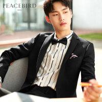 太平鸟男装 黑色西装男羊毛2019秋季新款刺绣韩版休闲西服男外套