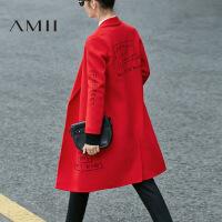 AMII[极简主义]100 羊毛双面呢大衣冬装大码外套女11694684