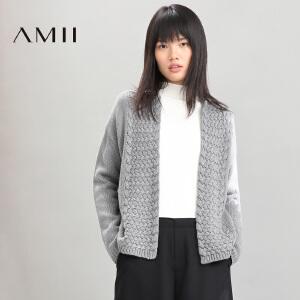 【品牌团 1件7折/2件5折】AMII[极简主义]冬新女纯色麻花针织开衫长袖毛衣外套11673455