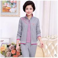女款中年大码妈妈装时尚韩版立领三件套装中老年女士运动服套装
