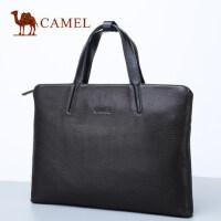 Camel骆驼男士手提包商务休闲包包横款斜挎公文包牛皮单肩包男版