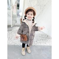 儿童男女连帽外套宝宝中长款洋气毛呢大衣