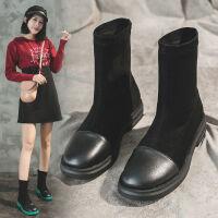 韩版靴子女秋冬新款网红撞色马丁靴机车靴百搭短筒靴套筒瘦瘦长靴
