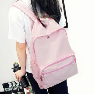 帆布双肩包女韩版小清新简约纯色书包中学生男学院风休闲旅行背包