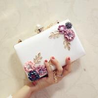 2018新款韩版晚宴包手拿包镶钻宴会链条包女小方包迷你单肩斜挎包 白色 珍珠头花朵