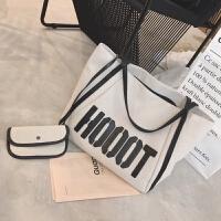 新款大包包大容量购物袋女包健身包字母休闲单肩包学生帆布包