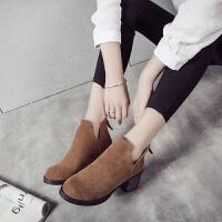 韩版粗跟短靴冬天单靴子百搭2019新款潮春秋季裸靴马丁靴女高跟鞋
