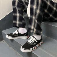 【版】鞋子女小草莓学生帆布鞋春夏秋新款女鞋小白鞋平底板鞋 黑色草莓 192