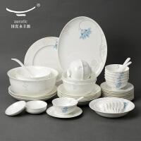 国瓷永丰源晨露50头骨瓷餐具套装碗盘碟勺陶瓷餐具套装组合家用