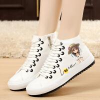帆布鞋 女春季白色韩版帆布鞋女高帮平底休闲女鞋平跟学生板鞋布鞋.