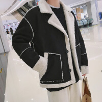 秋冬季韩版羊羔毛男加厚加绒夹克潮衣服青少年修身外套男保暖外衣