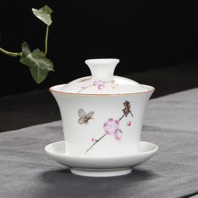 三才盖碗白瓷陶瓷青花功夫礼品茶具套装7ji 时尚  大方