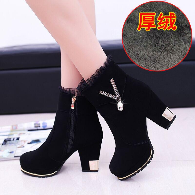 2019秋冬季女鞋韩版百搭时装靴中跟短靴女高跟性感磨砂皮粗跟靴子