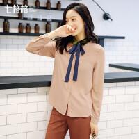 长袖衬衫女装新款2018秋冬装季韩版宽松时尚学生百搭丝绒拼接上衣