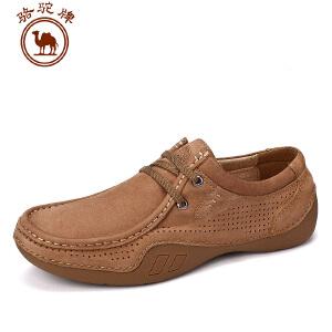 骆驼牌男鞋 夏季新品 手工缝制休闲皮鞋男厚底驾车低帮鞋子