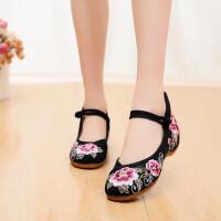 春夏季新款老北京布鞋民族风绣花鞋舞蹈鞋时尚增高坡跟软底单鞋子