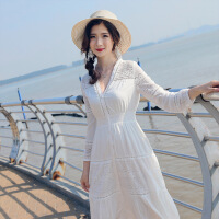 №【2019新款】白色沙滩裙2019泰国海边度假裙子气质波西米亚长裙蕾丝连衣裙超仙
