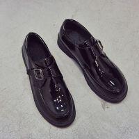 小皮鞋女学生韩版英伦风秋冬百搭平底漆皮单鞋女复古原宿风女鞋子 黑色 标准码数
