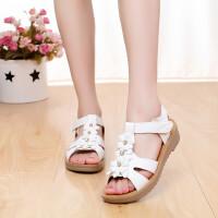 凉鞋女夏季新款中大童少女学生凉鞋韩版花朵露趾平跟时尚休闲平底孕妇鞋