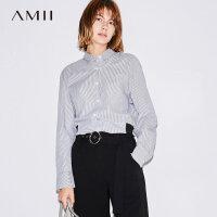【到手价:120元】Amii极简慵懒风通勤纯棉衬衫女2018秋新大码条纹拼接长袖polo上衣