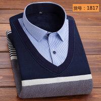 冬季加绒加厚保暖衬衫男士长袖假两件套头针织衫毛衣韩版休闲衬衣 2X
