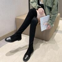 靴子女2019秋款欧美绒面短筒女时尚粗跟低跟女马丁靴女潮