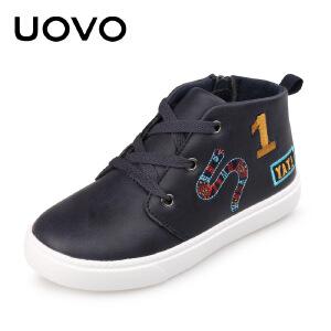 【下单立减100】 UOVO新款运动鞋中大儿童休闲鞋系带亮面男童女童运动鞋 奥普兰