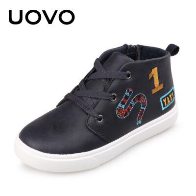 【每满200减100】UOVO新款运动鞋中大儿童休闲鞋系带亮面男童女童运动鞋 奥普兰【每满200减100 上不封顶】