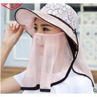 新款遮脸防紫外线可折叠遮阳帽女 防晒太阳帽子户外骑行 可礼品卡支付