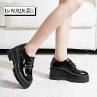 黑色漆皮松糕鞋女厚底鞋子英伦风单鞋ins小皮鞋高跟坡跟春季女鞋