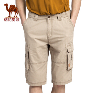 骆驼男装 夏季新款无弹中腰宽松纯色男青年六分裤休闲短裤