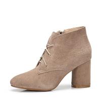 camel骆驼女鞋 秋冬新款 优雅磨砂皮尖头短靴 粗跟高跟短筒靴子女
