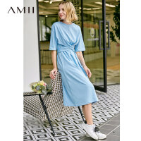 【券后预估价:68元】Amii极简智熏法式中长款连衣裙女夏季新款白色收腰绑带裙子仙