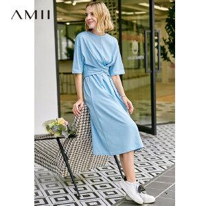 【到手价:72.9元】Amii极简chic气质港味连衣裙2019夏季新款全棉圆领落肩袖绑带裙子
